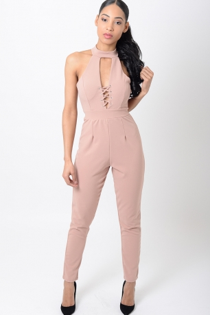 Stylish Lace Up Nude Jumpsuit