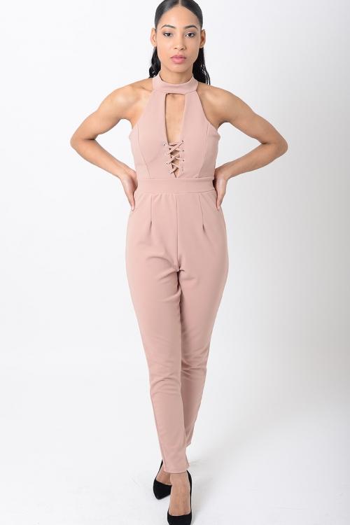 Stylish Lace Up Nude Jumpsuit