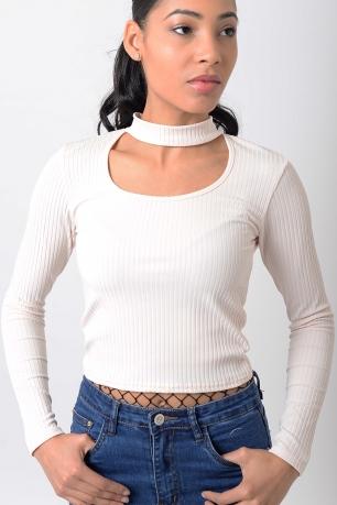 Stylish Long Sleeve Choker Cropped Top