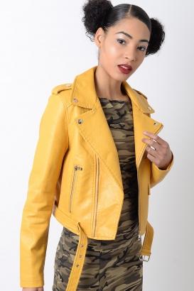 Stylish Mustard Belted Faux Leather Biker Jacket