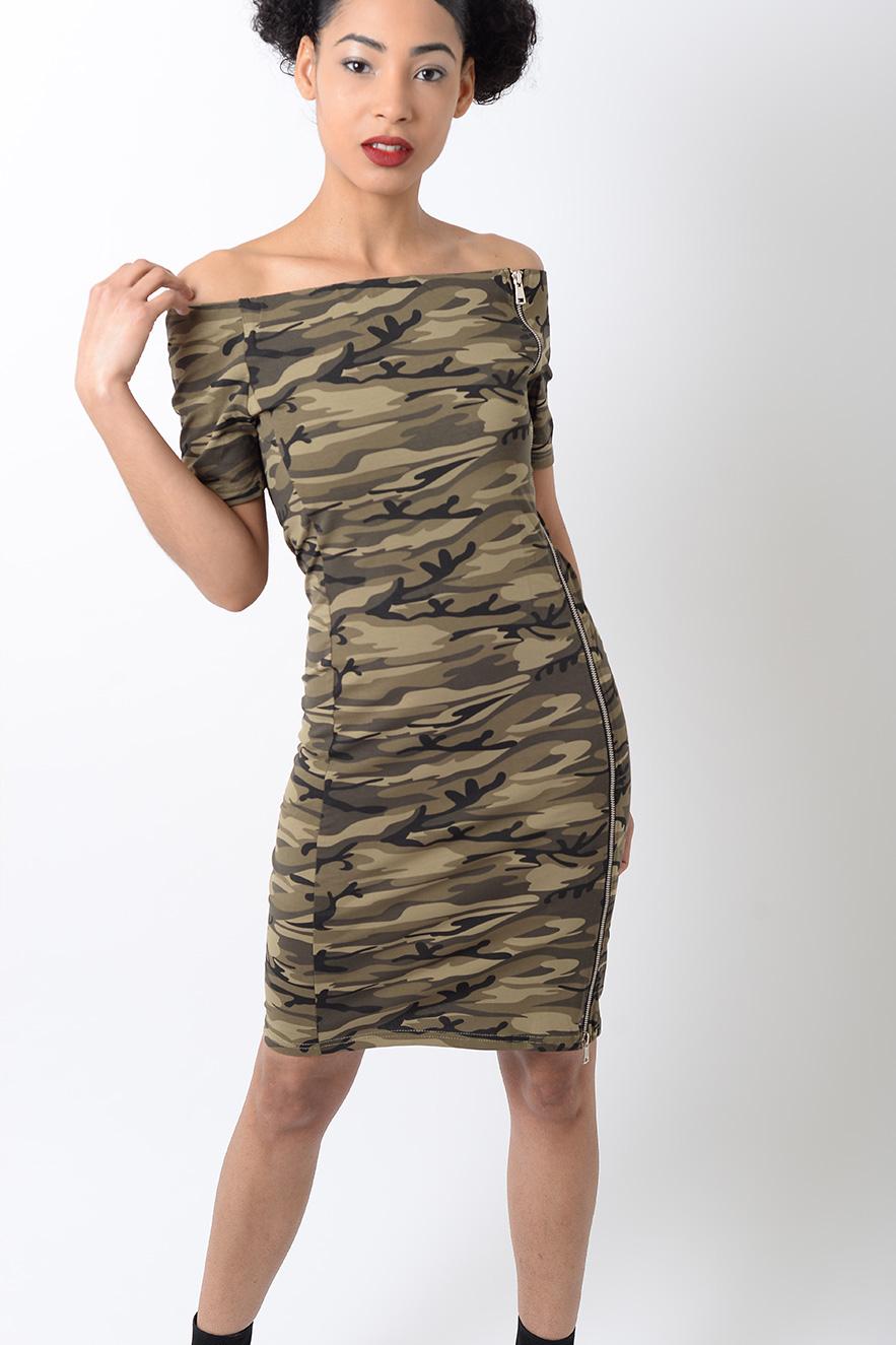Stylish Off The Shoulder Camo Bodycon Dress Stylish