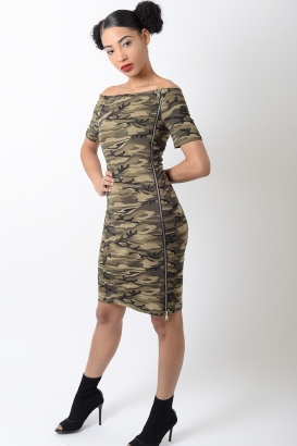 Stylish Off The Shoulder Camo Bodycon Dress