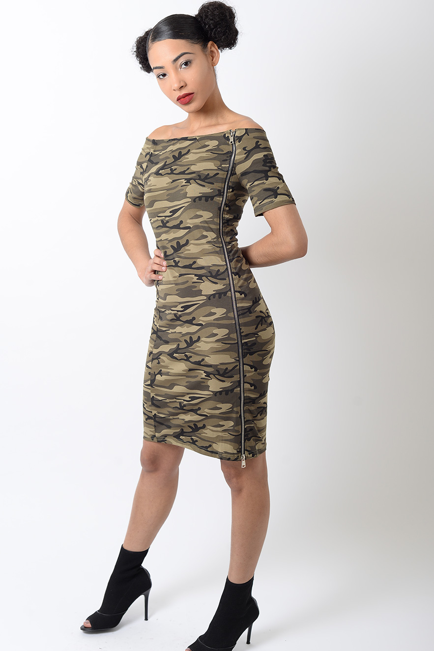 Stylish Off The Shoulder Camo Bodycon Dress | Stylish Bodycon Dresses