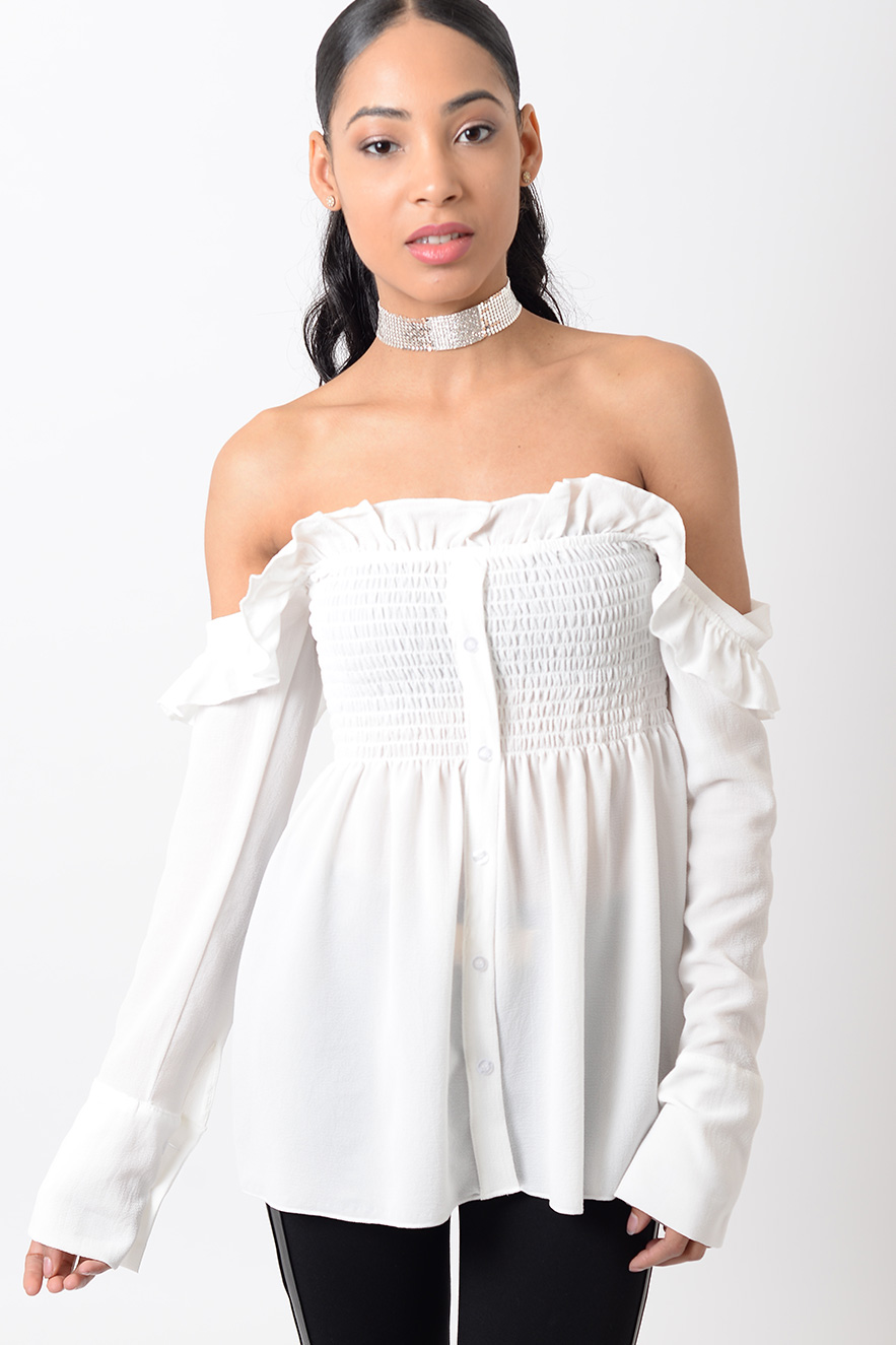 f4f86146bd51af Stylish Off The Shoulder Frill Top - Shop H S Off The Shoulder Tops