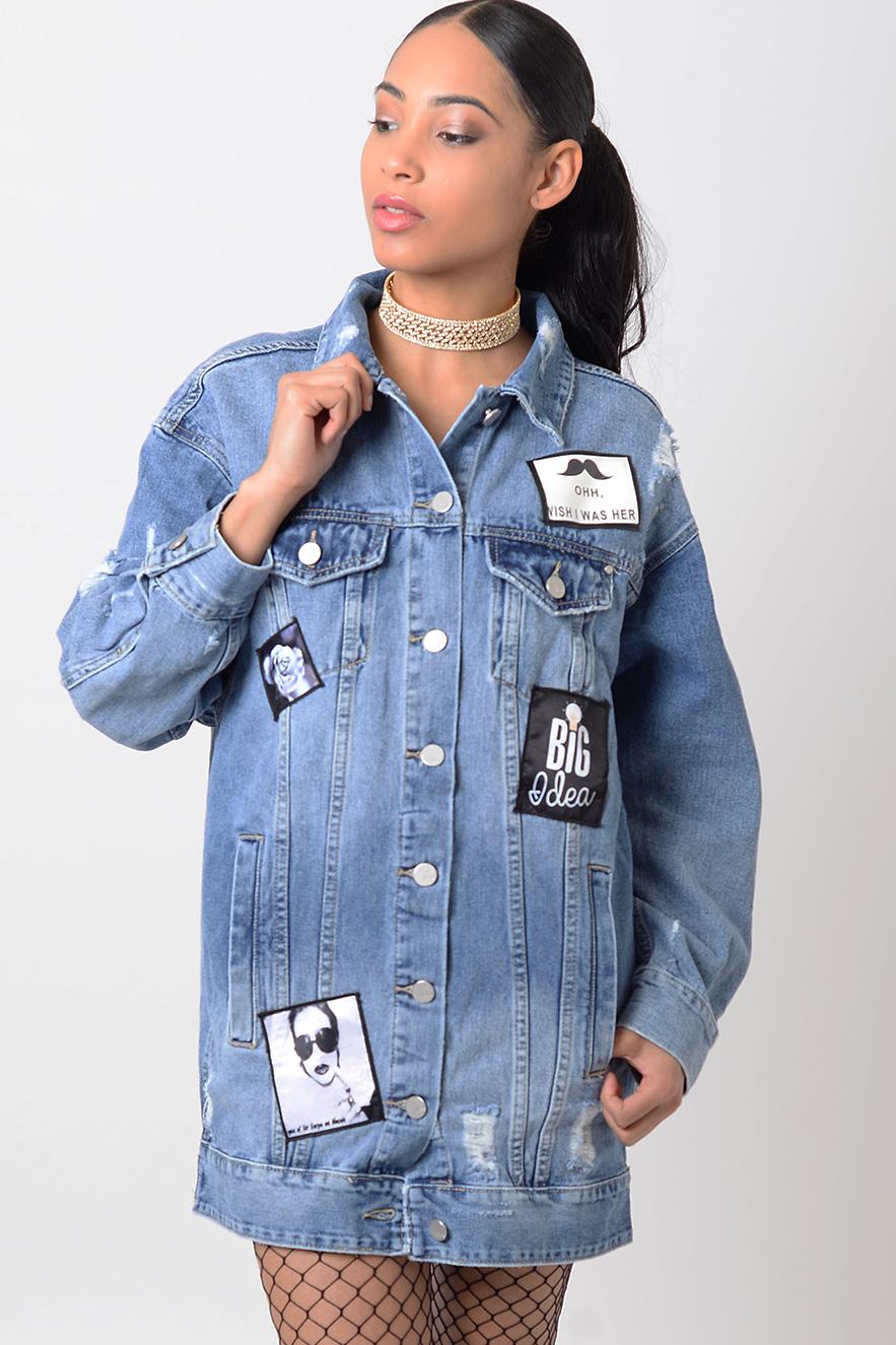 Stylish Ripped Oversized Denim Jacket 4