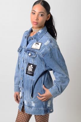 Stylish Ripped Oversized Denim Jacket
