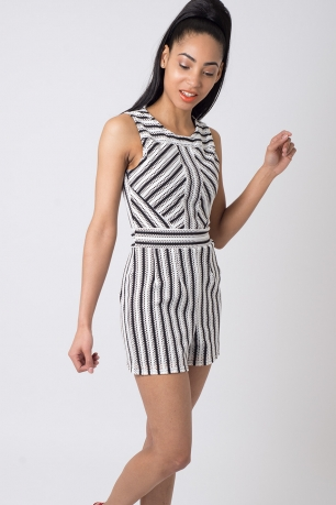 Stylish Striped Playsuit