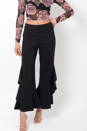 Stylish Black Frill Hem Trousers