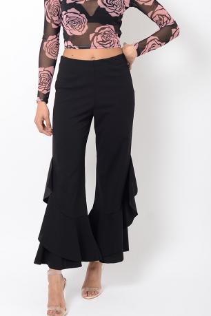 Stylish Black Frill Hem Trousers