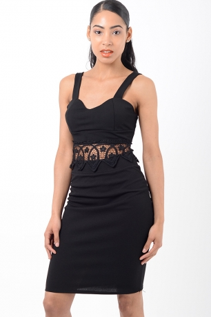 Stylish Black Lace Insert Co Ord Two Piece Set