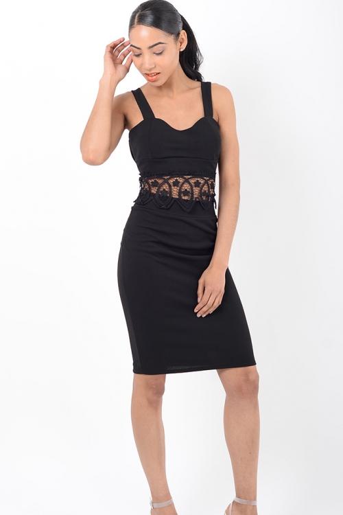 Stylish Black Lace Insert Co Ord Two Piece Set