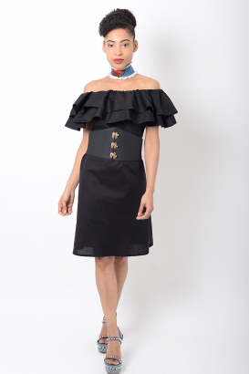 Stylish Black Ruffle Bardot Dress