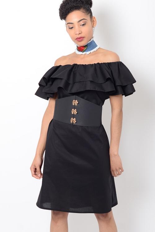 Stylish Black Ruffle Bardot Dress