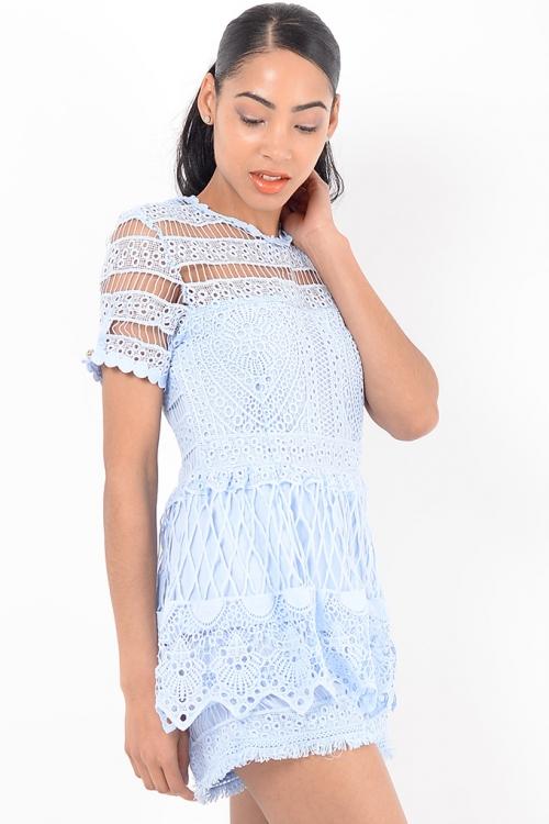 Stylish Blue Lace Playsuit