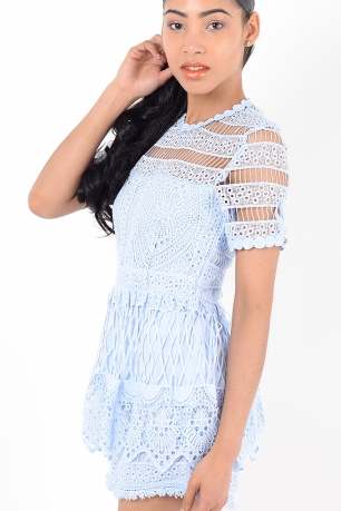 Stylish Blue Lace Playsuit