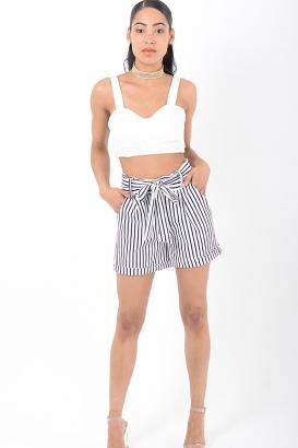 Stylish Blue Stripes High Waisted Shorts