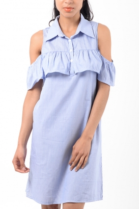 Stylish Cold Shoulder Ruffle Dress