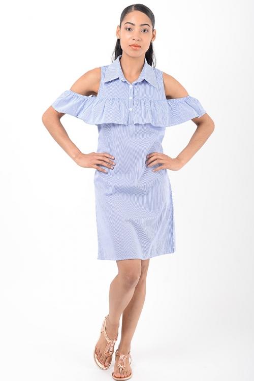 Stylish Cold Shoulder Ruffle Dress