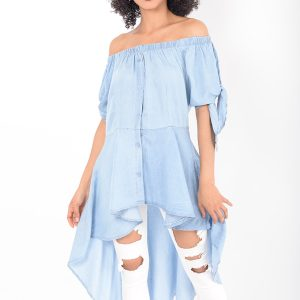 Stylish Denim Longline Bardot Top