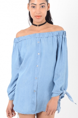 Stylish Denim Tie sleeve Bardot Top