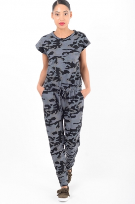 Stylish Grey Camo Jumpsuit