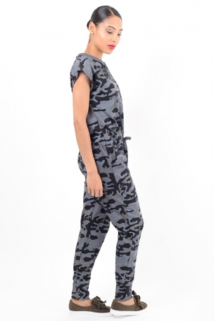 Stylish Grey Camo Jumpsuit