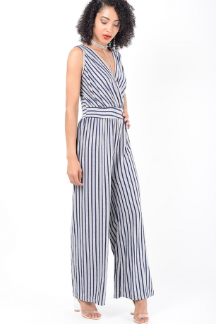 Stylish Grey Striped Wide Leg Jumpsuit