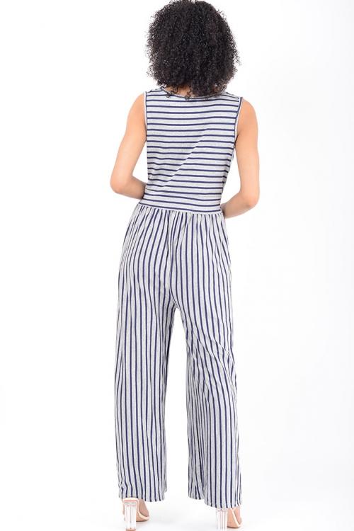 Stylish Grey Striped Wide Leg Jumpsuit
