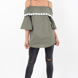 Stylish Khaki Ruffle Bardot Top