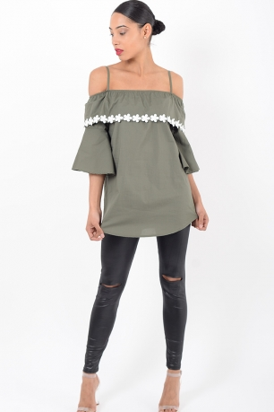 Stylish Khaki Ruffle Bardot Top