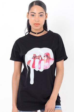 Stylish Lips Black T-Shirt