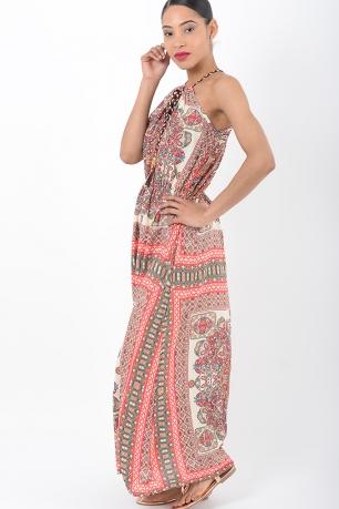 Stylish Paisley Print Maxi Dress