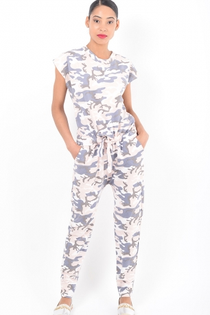 Stylish Pink Camo Jumpsuit