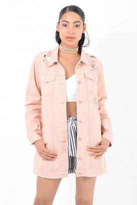 Stylish Pink Distressed Oversized Denim Jacket