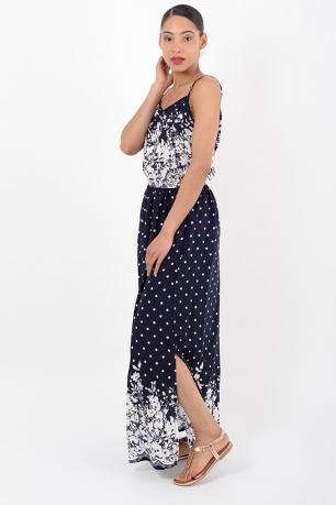 Stylish Polka Dot Navy Maxi Dress
