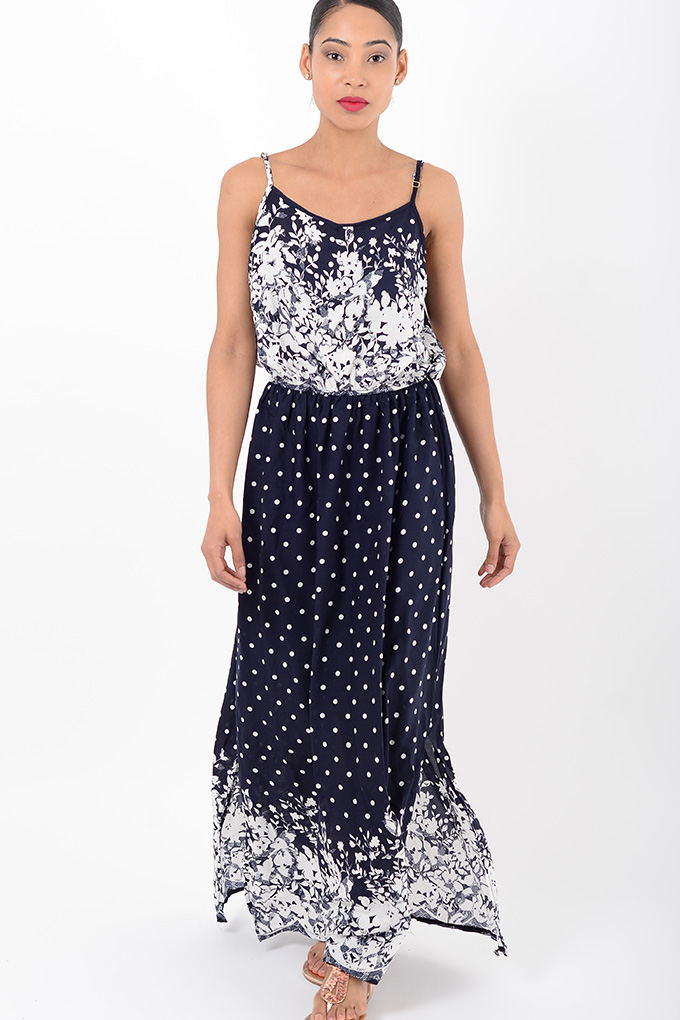 Stylish Polka Dot Navy Maxi Dress Stylish Dresses Maxi