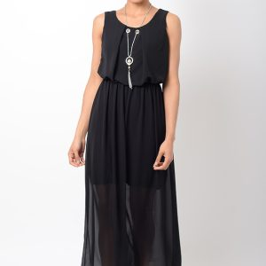 Stylish Chiffon Black Maxi Dress