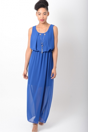 Stylish Chiffon Blue Maxi Dress