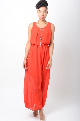 Stylish Chiffon Red Maxi Dress