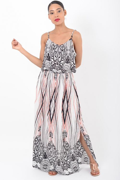 Stylish Strappy Multi Print Maxi Dress