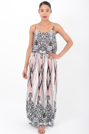 Stylish Strappy Multi Print Maxi Dress