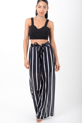 Stylish Striped High Waisted Trousers