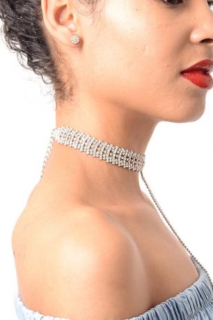 Stylish T Drop Silver Diamond Choker