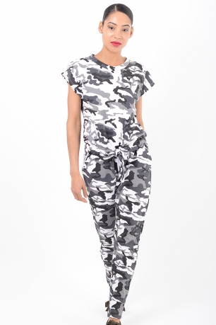 Stylish White Camo Jumpsuit