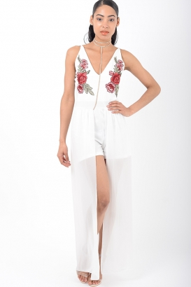 Stylish White Embroidered Playsuit