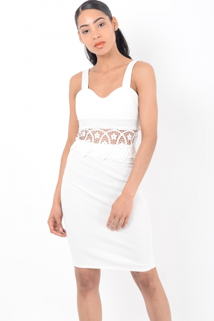 Stylish White Lace Insert Co Ord Two Piece Set