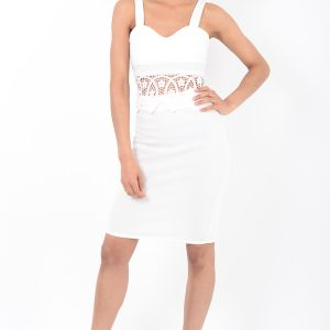 Stylish White Lace Insert Co Ord Two Piece Set