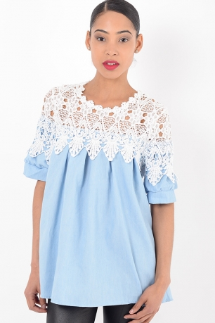 Stylish White Lace Tunic Top