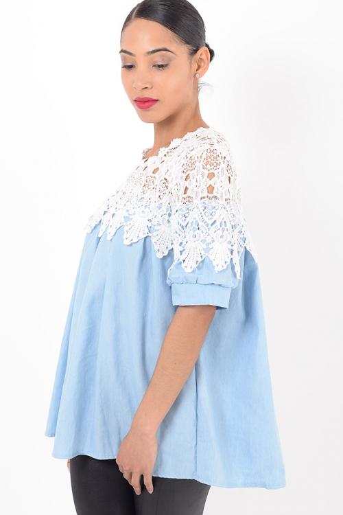 Stylish White Lace Tunic Top