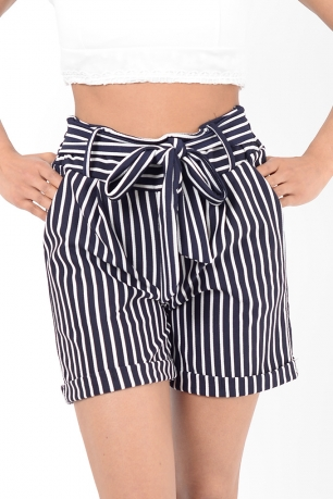 Stylish White Stripes High Waisted Shorts
